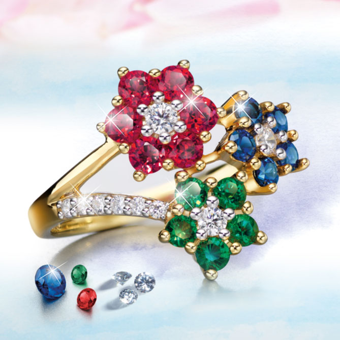 Anillo BOUQUET DI FIORI: 6 Diamantes, talla brillante