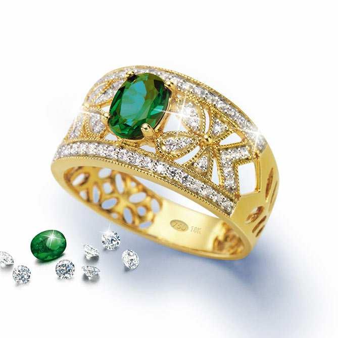 7be3104f29b2 Anillo de emeralda y diamantes