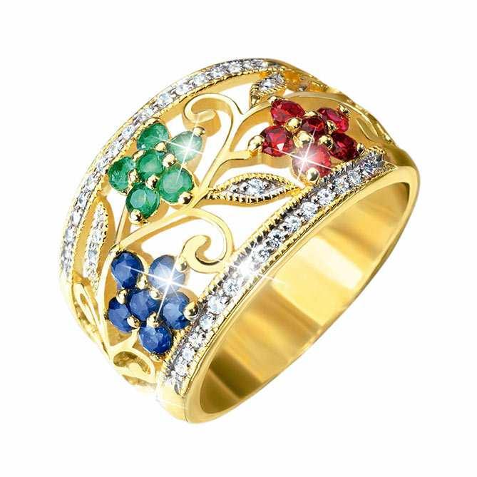 gran selección de db7b9 6a021 Anillo de oro con diamantes, rubíes, zafiros y esmeraldas ...