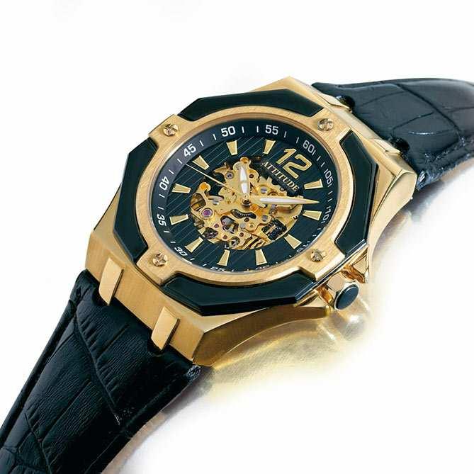 Reloj elegante de hombre en acero y oro attitude for Galeria del coleccionista vajillas