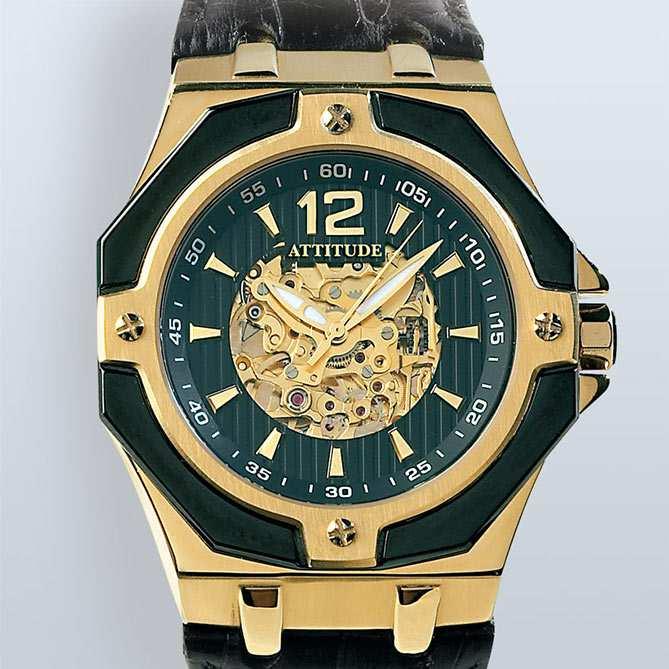 Reloj elegante de hombre en acero y oro, Attitude
