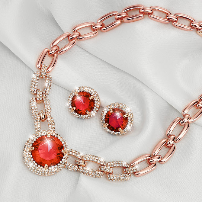 a5f3d2305afa Conjunto Rosa de Pasión · Elegantes Collar ...