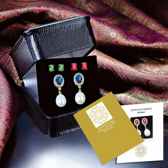gran descuento 0ee09 92e14 Pendientes de esmeraldas, zafiros y rubíes Emperatriz de ...