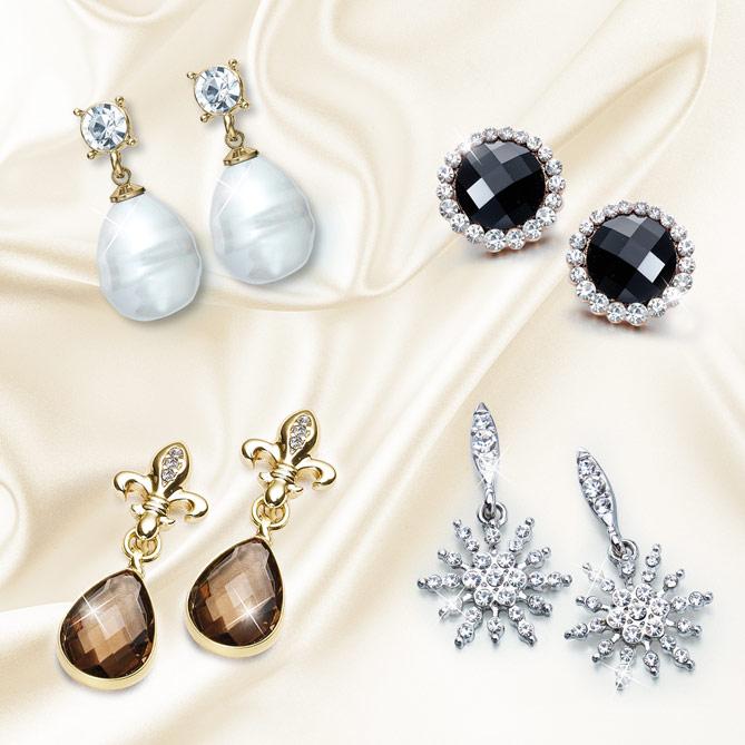 2d4e758e5ed3 Pendientes de Reina  Inauguration  con forma de perla barroca y 2 cristales  de Swarovski