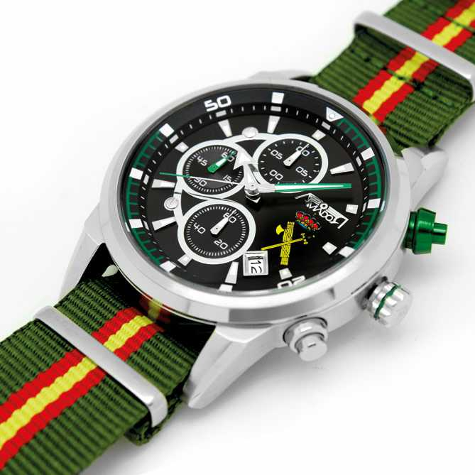 Reloj de acero Homenaje a la Guardia Civil: Indexes y agujas con marca de luminiscencia