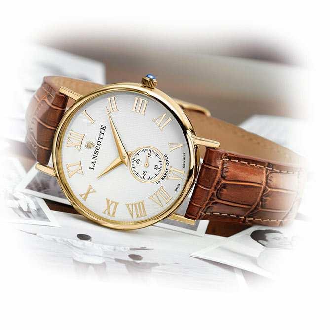 9cd40f84dc2 Reloj suizo de oro Legado  Corona en acero acabada en Oro de Primera Ley (