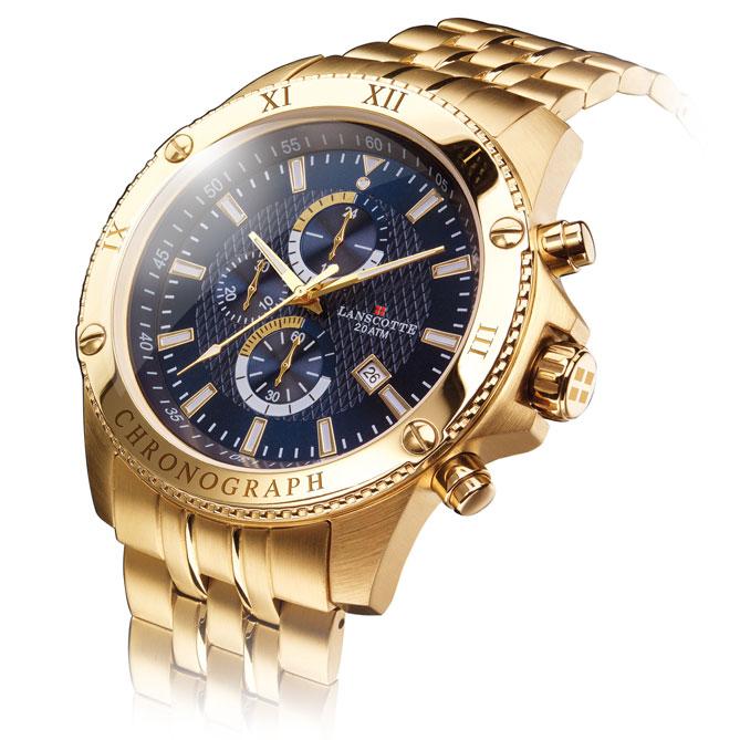 Reloj Cronógrafo Legendary  Correa de acero 316L Quirúrgico y Antialérgico  acabado en Oro de Primera d7ec8d227c98