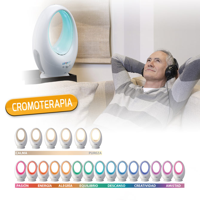 Ventilador sin aspas COLOR-AIR: Cromoterapia, ¡los colores son energía